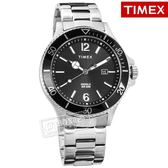 TIMEX 天美時 / TXTW2R64600 / 美國品牌 INDIGLO專利冷光照明 礦石強化玻璃 日期 不鏽鋼手錶 黑色 42mm