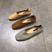 韓國東大門同款兩穿樂福鞋淺口平底奶奶鞋ins方頭踩跟軟底瓢鞋女 非凡小鋪
