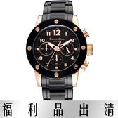 【台南 時代鐘錶 Roven Dino】羅梵迪諾 RD627BRG-696 楊丞琳代言 搖滾三眼計時腕錶 黑鋼 42mm