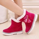 兒童短靴女童新款保暖防滑加厚中大童寶寶女童雪地靴加絨棉鞋 LF936『黑色妹妹』