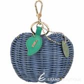 FURLA Ghiotta 蘋果造型手工藤編鑰匙圈(藍色) 1820542-23