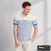 【JEEP】HiCool吸濕排汗細條紋短袖POLO(藍條紋)