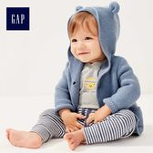Gap男女嬰兒 純棉純色熊耳連帽針織開襟衫 215587-靛藍色