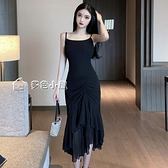 小禮服吊帶裙高端年會晚禮服女明星同款荷葉邊連身裙無袖收腰遮肚小黑裙 快速出貨