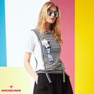 【SHOWCASE】細條紋拼接造型短袖縮襬上衣(白)