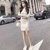 連衣裙女秋冬新款韓版氣質顯瘦百搭開叉針織蕾絲打底衫裙子潮 koko時裝店