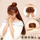 (低價促銷)假髪女迷你款小捲直髮包新娘夏季盤髮圈古裝髮飾半丸子頭蓬鬆花苞