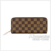 LV N41626 CLEMENCE棋盤格LOGO DAMIER帆布8卡拉鍊長夾(咖啡x粉紅)