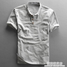 夏季男士亞麻短袖襯衫棉麻薄款簡約透氣套頭半袖麻布襯衣男款上衣 極簡雜貨