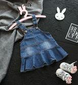 韓版牛仔連身裙子女寶寶春裝背帶
