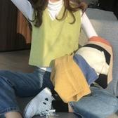 秋冬V領短款針織馬甲女新款學生韓版寬鬆馬夾外穿無袖背心上衣潮 嬌糖小屋
