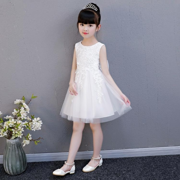 女童洋裝夏季公主裙兒童裙子小女孩夏裝蓬蓬紗裙白色-年終穿搭new Year