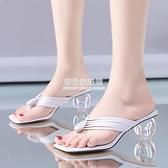 外出拖鞋 人字拖鞋女外穿2020夏季新款仙女風夾腳粗跟高跟水晶跟涼拖沙灘鞋 初色家居館
