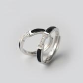 戒指 925純銀 鑲鑽-甜蜜愛戀生日聖誕節交換禮物女開口戒2款73dt44【時尚巴黎】