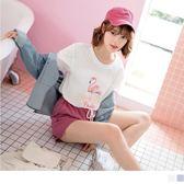《AB7870》紅鶴印圖英文字T恤上衣 OrangeBear
