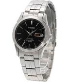 SEIKO 精工 經典藍寶石水晶鏡面鋼帶錶/手錶-黑 7N43-0AR0D