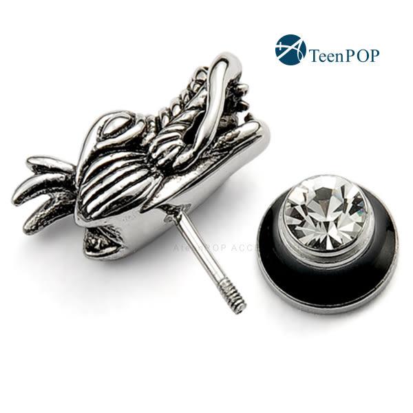 鋼耳環ATeenPOP西德鋼 中國龍 栓扣式 兩面皆可戴*單邊單個價格*