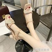 涼鞋女粗跟夏季新款中跟仙女風韓范百搭網紅高跟鞋單鞋潮 快速出貨