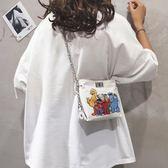 水桶包 ins網紅帆布小包包女夏季新款卡通水桶包休閑鏈條單肩斜挎包 伊芙莎