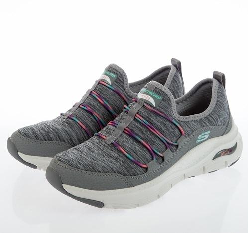 SKECHERS ARCH FIT 女款灰色運動休閒鞋-149061GYMT