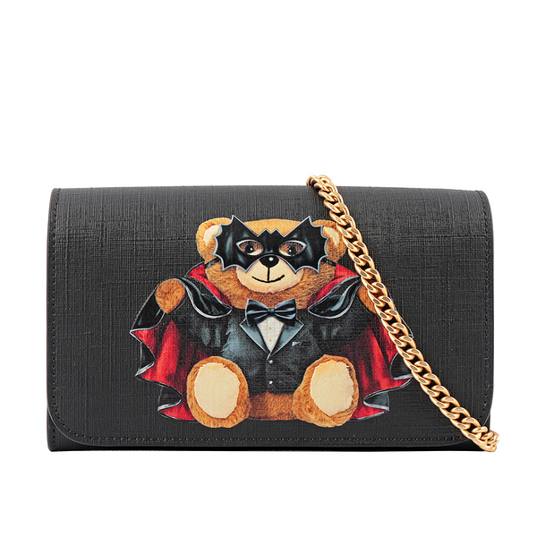 【MOSCHINO】BAT Bear皮夾式鍊包(黑色) A8127 8210 1555