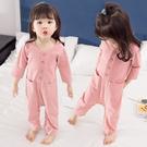 女童連體睡衣春秋季純棉長袖兒童1防踢2歲3嬰兒家居服4女寶寶嬰兒