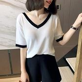 短袖冰絲針織衫新款2020夏季薄款寬鬆顯瘦氣質拼色V領t恤上衣女【快速出貨】