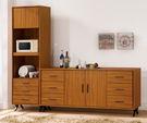 【森可家居】安德里8尺餐櫃 (全組) 7ZX815-2 收納廚房櫃 碗盤碟櫃 木紋質感 北歐 工業風