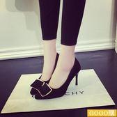 新款韓版方扣高跟鞋尖頭細跟工作鞋