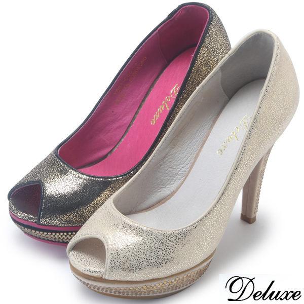 【Deluxe】全真皮高貴金粉鑽魚口高跟鞋(黑★金)