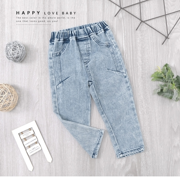 美式刷白休閒淺藍色貼腿牛仔褲 丹寧 洗白 基本款 好搭 女童裝 女童長褲 女童牛仔長褲