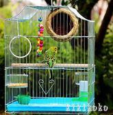 鸚鵡鳥籠大號不銹 電鍍籠子八哥黃雀玄鳳牡丹鐵藝鸚鵡籠  XY4397  【KIKIKOKO】
