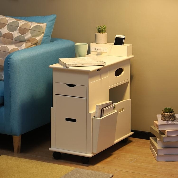 沙發邊櫃多功能扶手櫃客廳邊桌簡約現代牆角櫃帶輪小茶幾移動茶桌 雙十二全館免運