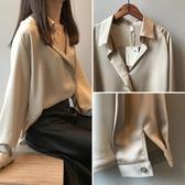 絲綢緞面襯衫女設計感小眾秋季2019新款寬鬆長袖襯衣v領雪紡上衣 陽光好物