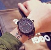 帶時尚手錶男學生韓版簡約防水石英手錶男非機械腕錶 QM 向日葵