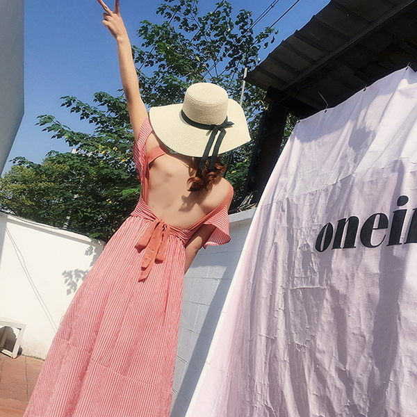 梨卡★現貨 - 復古波西米亞性感渡假沙灘露背後綁帶印花氣質連身短裙連身裙洋裝沙灘裙C6290