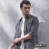 【JEEP】復古黑白細格紋襯衫(合身版)