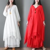 夏季復古女士禪舞服裝女套裝中國風禪意仙女連衣裙茶服禪服兩件套