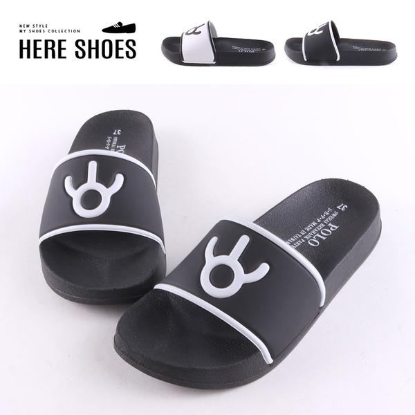 [Here Shoes]涼拖鞋-MIT台灣製 簡約印花黑白配色 簡約休閒 一字拖鞋-AB756