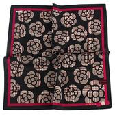 CLATHAS 滿版山茶花純綿帕巾(黑色)989265-20