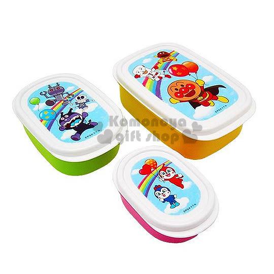 〔小禮堂〕麵包超人 日製保鮮盒組《3入.白黃.拿氣球.彩虹.930ml》可一起收納4903320-87470