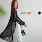 MIUSTAR 直紋澎袖雕花開襟蕾絲罩衫(共4色)【NJ1813】預購