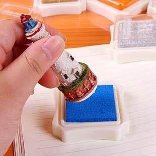 【發現。好貨】韓國文具 高檔精緻盒裝小印台 單色印台 印泥 金屬色印台