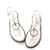 amai《12星座- Taurus金牛座》細緻金屬圓環扣飾涼鞋 白