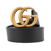 【GUCCI】大雙G霧金logo牛皮4CM寬皮帶(黑色)85/90/95/100/105cm 397660 AP00T 1000