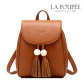 後背包 可愛圓球流蘇掀蓋貝殼型後背包 4色-La Poupee樂芙比質感包飾 (現貨+預購)