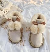中筒靴 雪地靴女2021年秋冬新款可愛加厚一腳蹬中筒保暖面包鞋棉鞋 智慧e家 新品