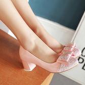 蝴蝶結淺口粗跟鞋 氣質女高跟鞋【多多鞋包店】z206