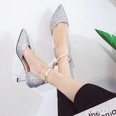 大尺碼女鞋 鞋子女秋貓跟一字扣高跟鞋細跟5cm尖頭銀色公主鞋 nm10992【甜心小妮童裝】