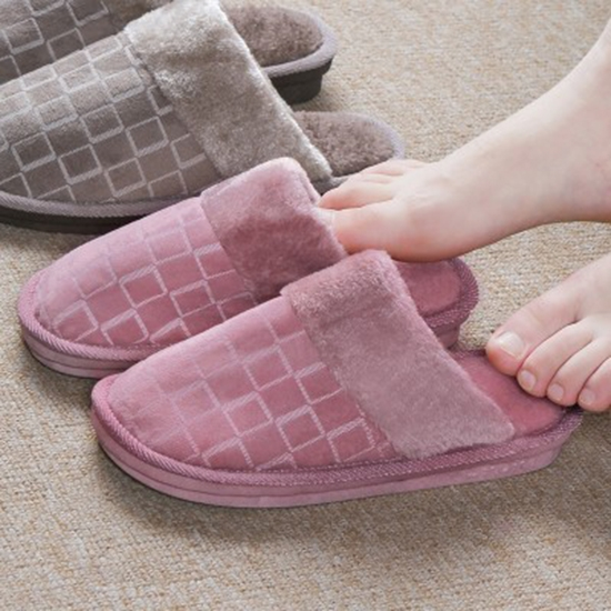 室內拖 絨毛拖鞋  厚底鞋 家居拖鞋 木地板  毛絨方格棉拖鞋(女/男款) ✭米菈生活館✭ 【Z183】
